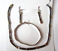 Набор Шикарный колье+ браслет +серьги в серебре