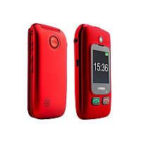 Телефон кнопочный раскладушка с дополнительным экраном бабушкофон красный