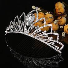 Тиара гребень Корона свадебная с камнями и кристаллами