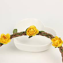 Резинка ободок с желтыми цветочками на голову