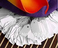 Бирки белого цвета на украшения с резиночкой