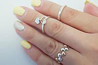Кольцо серебряное с золотыми вставками 3 в 1