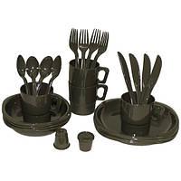 Набор пластиковой посуды кемпинговый тёмно-зелёный MFH 33345