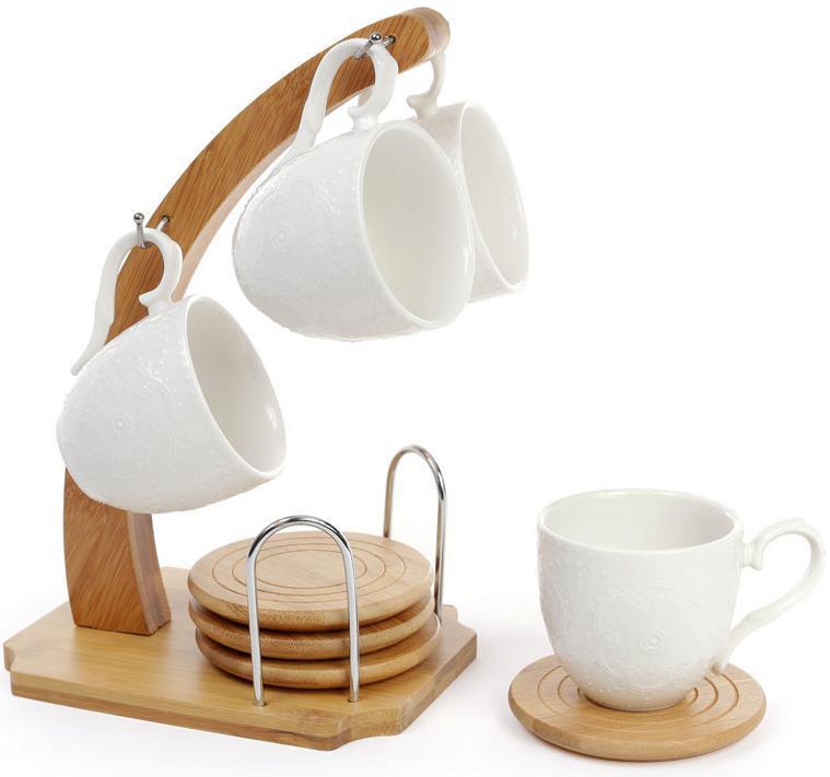 Кофейный набор Ceram-Bamboo 4 чашки 130мл, костеры на бамбуковой подставке - Фиолетовая панда в Одессе