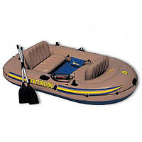 Лодка 68319 на 3 человека, надувной пол, в комплекте сиденья, весла, насос, ремкомплект ZZNK