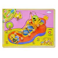 Деревянная игрушка Шнуровка MD 0214 (72шт) рамка-вкладыш, 29,5-21,5см VN