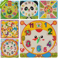 Деревянная игрушка Часы MD 0959  рамка-вкладыш с ручкой, 4 вида, в кульке  18-18-1см FFP