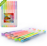 Ручка MK 0397  гелевая, неон, 8шт в футляре(пластик)  9,5-15,5-1см FZ