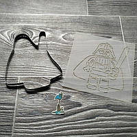Вырубка для печенья и пряников с трафаретом Лего Дарт Вейдер