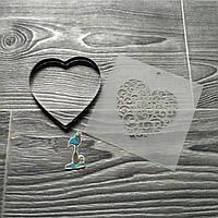 Вырубка для печенья и пряников с трафаретом Сердце
