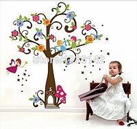 """Наклейка на стену, виниловые наклейки, украшения стены наклейки  """"Цветущее дерево и феи"""""""