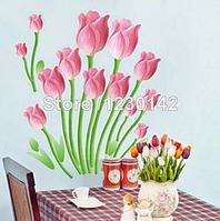 Наклейка на стену, виниловые наклейки, стикеры 3D-розовый тюльпан 70*60см