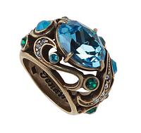 """Кольцо """"Фоскало"""" с кристаллами Swarovski, покрытое бронзой (r477w040)"""