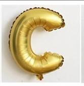 Фольгированный ШАР-БУКВА  C высотой 40 см цвет : золото