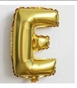 Фольгированный ШАР-БУКВА  E высотой 40 см цвет : золото