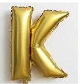 Фольгированный ШАР-БУКВА  K высотой 40 см цвет : золото