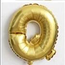 Фольгированный ШАР-БУКВА  Q высотой 40 см цвет : золото