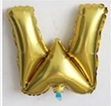 Фольгированный ШАР-БУКВА W высотой 40 см цвет : золото