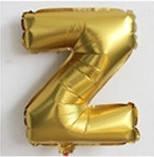 Фольгированный ШАР-БУКВА  Z высотой 40 см цвет : золото