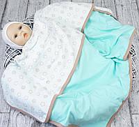 Плед лето для новорожденных Звездочка ментол