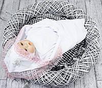 Крестильная пеленка летняя (белая с розовым кружевом)