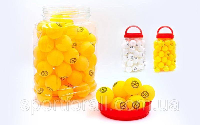 Набор мячей для настольного тенниса 60 штук в PP банке CHAMPION MT-2708 (d-40мм, белые,оранжевые)