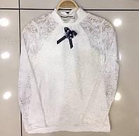 Гипюровая блузка с бантиком на 8-14 лет, кремовая/белая