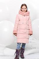 Детская Зимняя Куртка для Девочки Барашек Розовая Рост 134-150 см