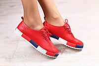 Женские кеды, красные, кожаные, на шнурках