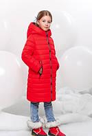 Удлиненная Зимняя Куртка для Девочки Красная Рост 116-168 см