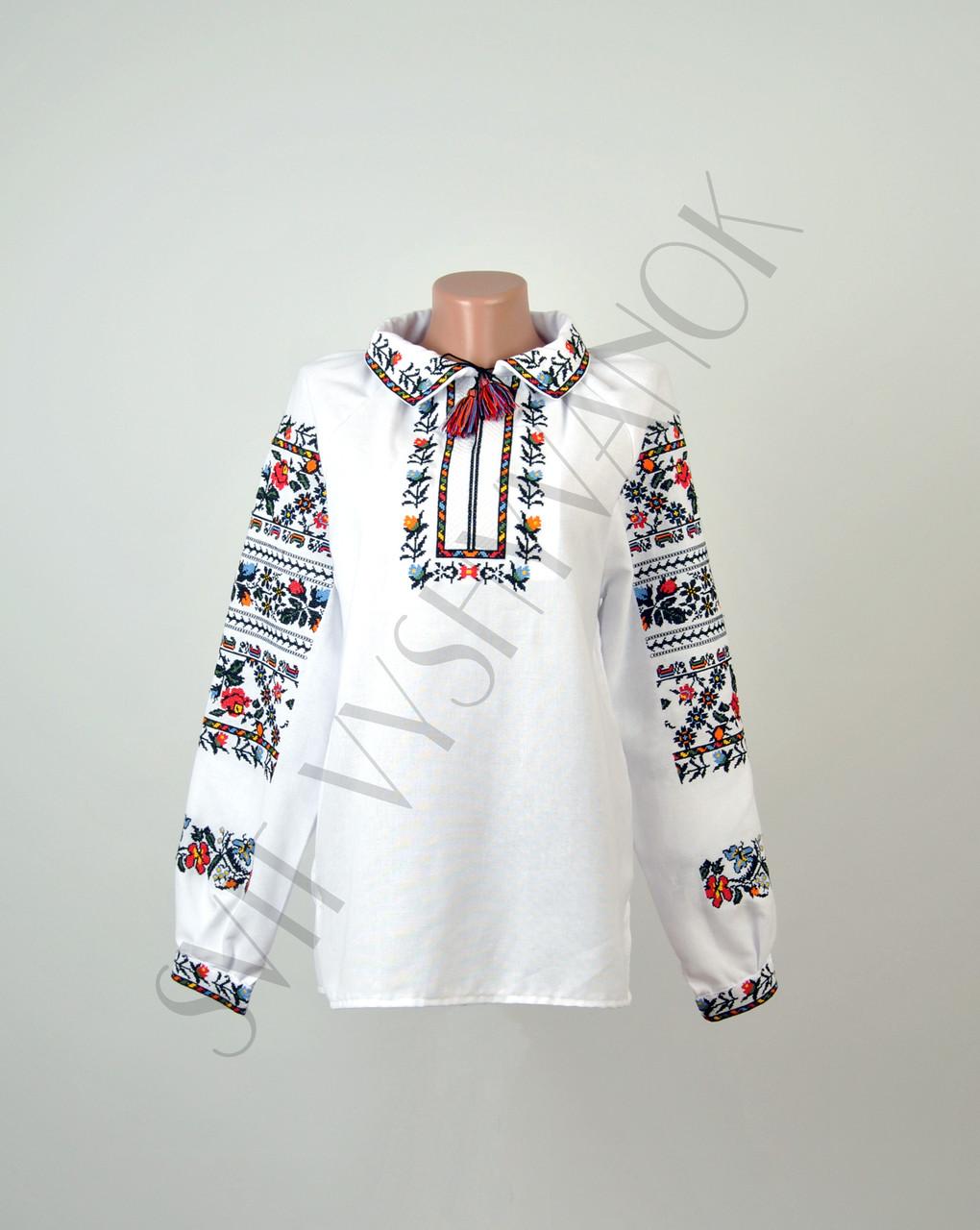 5ef5ae77c65203 Жіноча вишиванка з комірцем з машинною вишивкою недорого: продажа ...