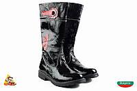 Bulgaria Лаковые чорный красный цветок Girl boots