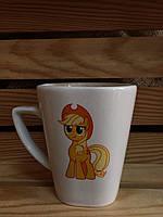 Керамическая чашка квадратная деколь 300 мл Пони