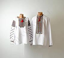 Пара вишиванок білого кольору з гуцульським орнаментом машинної роботи