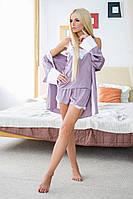 Женский стильный домашний комплект-тройка: майка с кружевом, шорты и пенюар (3 цвета) (+большие размеры)