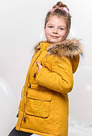 Детская Зимняя Куртка Парка для Девочки Горчичнная  Рост 116-168 см