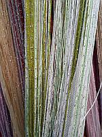 Шторы-нити кисея люрекс радуга 3мх3м салатовый-зеленый-белый