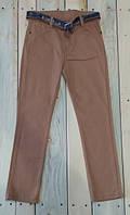 Штаны котоновые брюки с поясом для мальчиков светло коричневые Турция на возраст 10-11 лет, 11-12 лет
