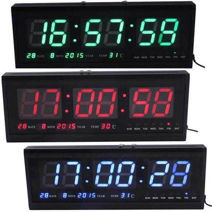 Большие настенные электронные LED часы с календарём и термометром CW 4600, часы  настенные многофункциональные - b16326fe29e