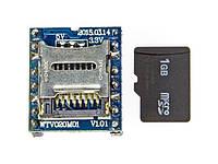 Радиоконструктор Модуль воспроизведения звука на WTV020M01 до 1Gb