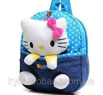 Детский рюкзак с игрушкой голубой, Китти