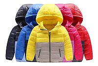 Тепла курточка на пуху для дівчаток та хлопчиків, осінь - весна