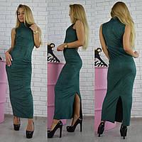 Платье замшевое с воротником-гольф длинное за колено 5 цветов SMf1237