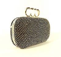 Вечерний клатч, сумочка Rose Heart 0951-82 черный, камни
