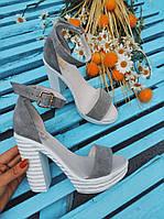 Серые босоножки женские 39 размер на толстом каблуке белая подошва очень удобные Распродажа