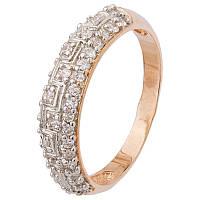 """Серебряное кольцо с камнями и позолотой """"021"""""""