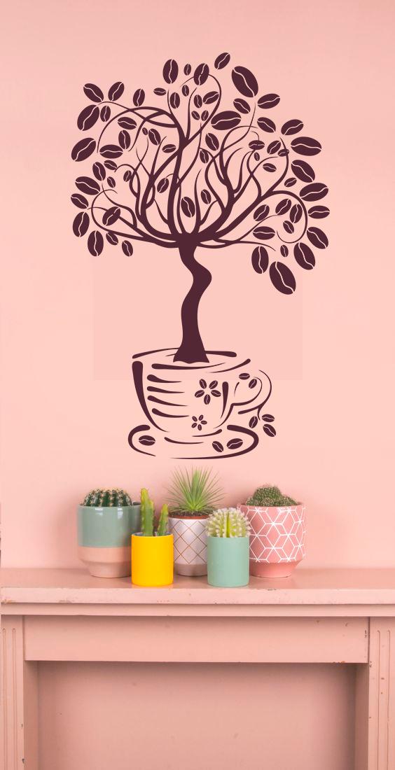Наклейка 3Д виниловая »Дерево кофе», кухни, зала, для домов, квартир, столов, витрин кофейн, кафе