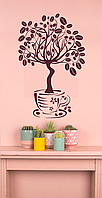 Наклейка 3Д виниловая »Дерево кофе», кухни, зала, для домов, квартир, столов, витрин кофейн, кафе, фото 1