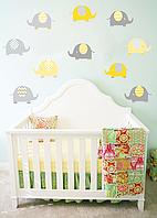 """Наклейки на стену в детскую виниловая """"набор слоники 1"""" для детей, ясли, детский сад"""