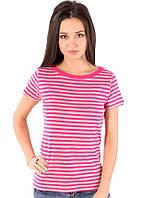 Полосатая футболка женская летняя с коротким рукавом хлопок хб розовый серый трикотажная (Украина)